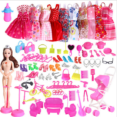 85Pcs Items For Barbie Dolls Dresses Shoes Jewellery Clothes Set Kids Gifts 100%