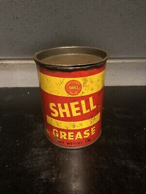 Shell Early 1 Lb Pound Vintage Grease Tin Oil Tin Oil Can