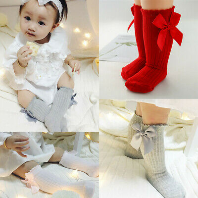 Children Toddler Girls Kids Knee High Socks Bow Spanish Kids Party School Socks