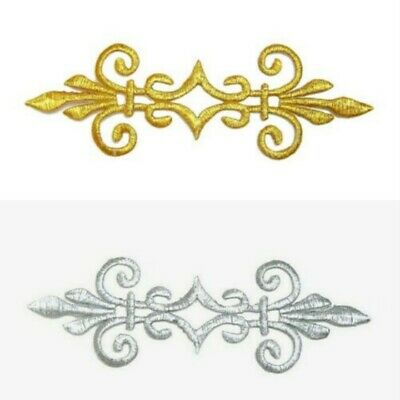 Gold Silver Applique Iron On Embroidery Trim for Ballet Dance Stage Costume #144