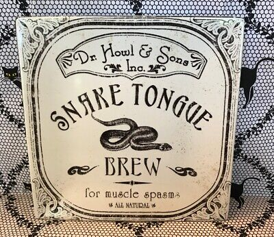 222 FIFTH Halloween Square Salad Plate SNAKE TONGUE BREW for muscle spasms