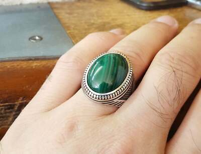 Solid 925 Sterling Silver Natural Malachite Men's Ottoman Ring Arabic Ring K19