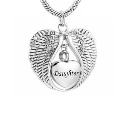 Daughter Cremation Ashes Necklace Angel Urn Pendant Memorial Keepsake Jewellery