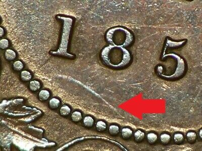 🍁 1859 Canada Large Cent Major Die Clash Marks on Both Sides #4575