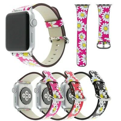 Retro Daisy Flower Leather Band Strap Bracelet for Apple Watch iWatch 5 4 3 2 1
