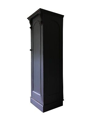 Antique Painted Black Single Wardrobe Larder Hall Cupboard Cabinet Narrow Slim