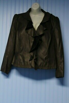 NWT Worthington Woman dark brown leather-look ltwt jacket with ruffle 2X