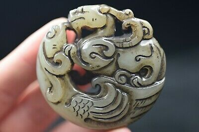 Ancient Chinese Hongshan culture jade carved amulet A817