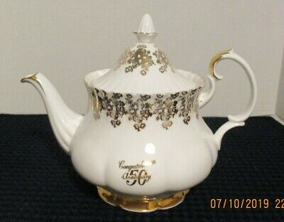 ROYAL ALBERT BONE CHINA TEA POT - 50th Anniversary