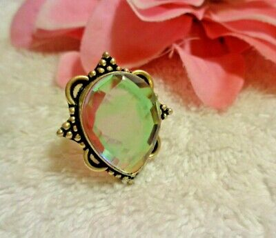 Stunning Opalescent Rainbow Topaz Glass Ring Silver Plated Size 7.5