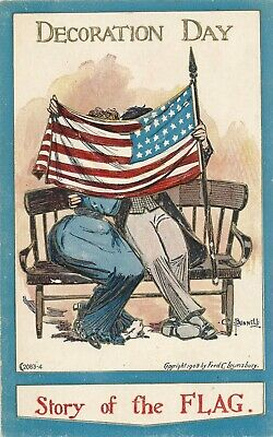 DECORATION DAY – Bunnell Signed Story of the Flag Patriotic Postcard