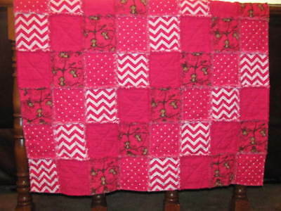 New Playful Monkeys and Bright Pink Baby / Toddler Quilted Blanket Rag Quilt