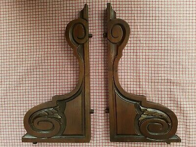Beautiful Pair Of Antique French Carved Walnut Brackets / Corbels - C1900