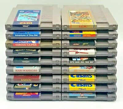 Nintendo NES 18 Games LOT Mega Man 4 Mario 3 Ikari Warriors 1942 Karnov