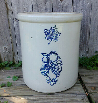 XLNT Vintage Antique 10 Gallon Western Monmouth Stoneware Co Fruit Crock