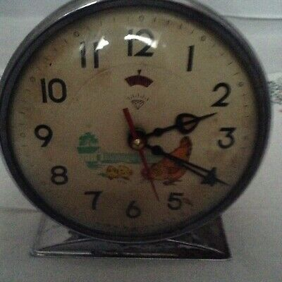 Vintage Animated Pecking Chicken Hen Alarm Clock China 1960's