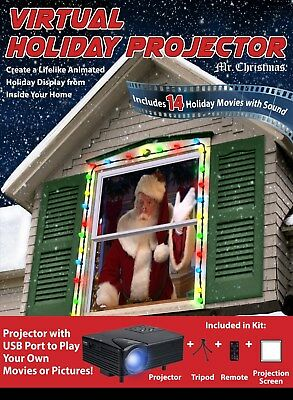 Mr. Christmas Virtual Holiday Projector 14 Holiday Movies with Sound NEW