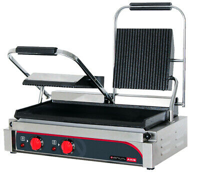 Anvil Panini Press Double Ribbed Top Flat Bottom