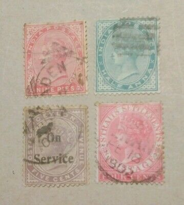 Unchecked Queen Victoria postage stamps used.