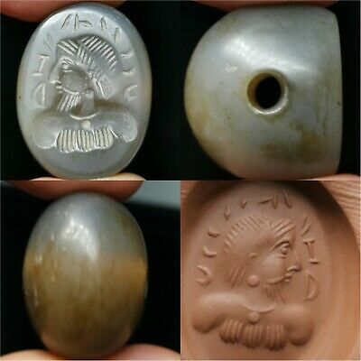 Ancient agate face King stone old BEAD . #a