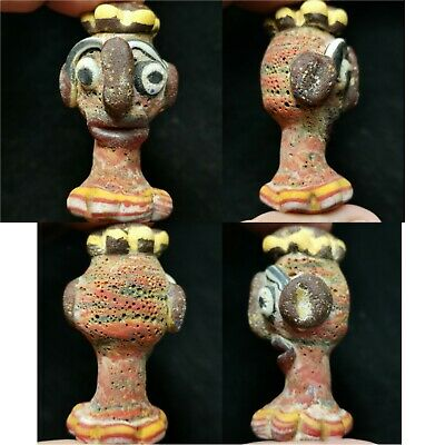 Unusual historical phoenicians glass face pendant. #a