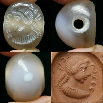 Banded Agate stone Roman face seal old intaglio Bead . #a