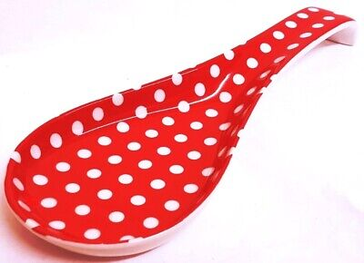"Red Dots Ceramic Spoon Rest 27cm 10.5"" Large Spotty Porcelain Spoon Decorated UK"