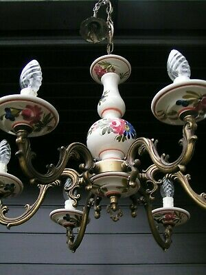 Very nice 6 branch porcelain  handpainted flower chandelier with brass frame.