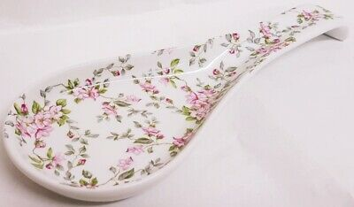 "Wild Pink Roses Ceramic Spoon Rest 27cm 10.5"" Large Porcelain Spoon Decorated UK"