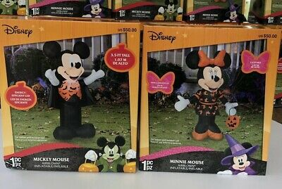 3.5 ft tall airblown inflatable Disney Halloween Mickey Vampire & Minnie Mouse.