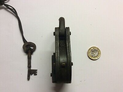 antique 4 lever hand forged padlock.works fine,brass and iron