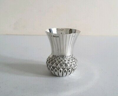 Unusual Antique Solid Silver Thistle Shape Whiskey Tot / Cup.       Sheff. 1900.