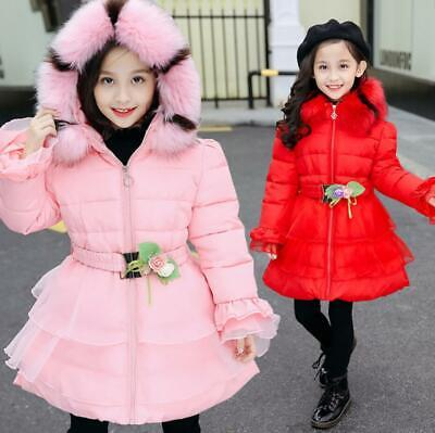 Kids Girls Padded Quilted Long Coat Winter Warm Fur Hooded Parka Puffer Jacket