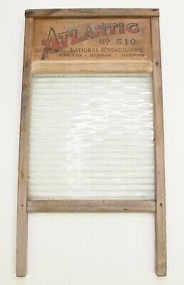 Antique Original Atlantic National Washboard Co. No. 510 Wood And Ribbed Glass