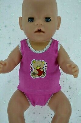 "Play n Wear Dolls Clothes To Fit 17"" Baby Born HOT PINK SINGLET~KNICKERS"