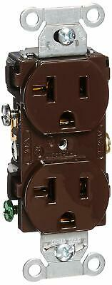 HUBBELL WIRING DEVICE-KELLEMS Nylon Receptacle,Duplex,20A,5-20R,125V,Brown, CR20