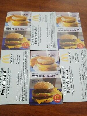 6 MCDONALD'S - EXTRA VALUE MEAL - GOLD SHINY FOIL Symbol McDonalds coupons