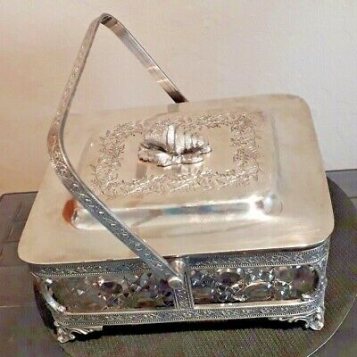Vintage Walker & Hall Lidded Butter Dish 1847A Silver Plated Excellent Condition
