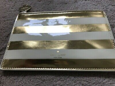 Kate Spade Gold Ivory Striped Pencil Pouch Cosmetic Bag