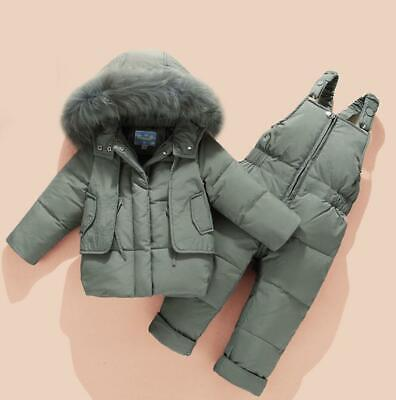 2pcs Toddler Baby Boys Girls Snowsuit Puffer Down Jacket Fur Hooded Coat Kids
