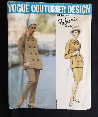 Vtg Vogue Couturier Design Fabiani Sewing Pattern #1428 Cut Size 12 Pant Suit