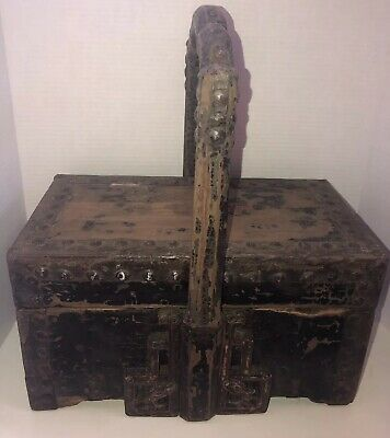 Antique Wood Box Dragon Motif Wedding Basket Wax Stamp Sach Export Wooden China