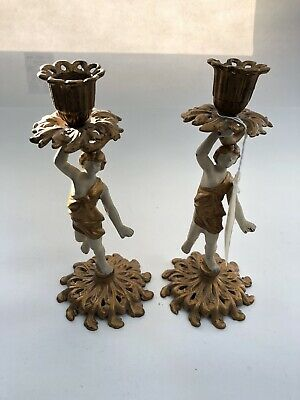 Vintage Ornate Cast Iron Candle Holder Candlestick Painted Lady Gold And White