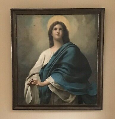 Antique Oil Painting French? 19th Century, Religious, Christianity