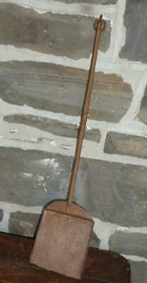 Antique Wrought Iron Fireplace Hearth Shovel 18th Century Colonial Era Decorated