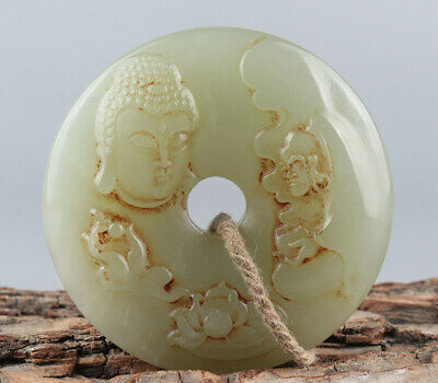 Chinese Exquisite Hand carved Buddha Luohan Carving Hetian jade Pendant