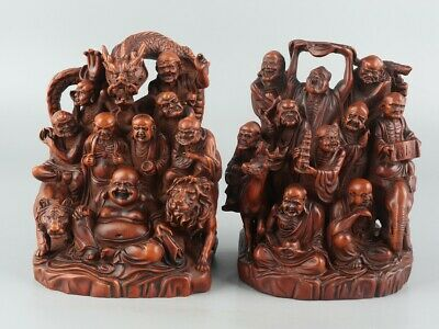 Chinese Exquisite Handmade Luohan Carving Boxwood statue a pair