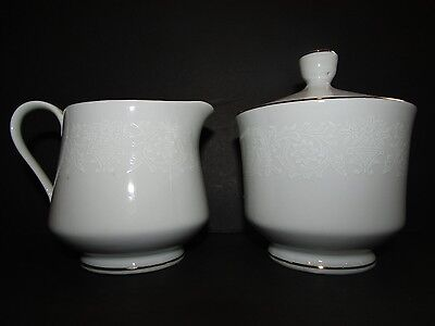 """NORLEANS Japan Fine China WHITE LACE~Creamer (10 oz) & Sugar With Lid (3 3/8"""")"""