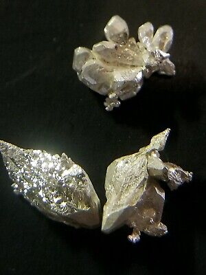 2 + Grams LOT Of Three .9999 Crystalline Silver Crystal Nuggets 99.99% Pure