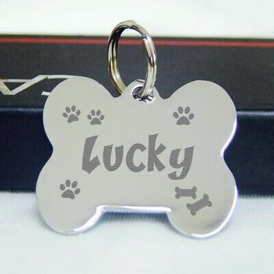 Fat Bone Deep Engraved Pet ID Tags stainless steel Dog tag Cat Name Tags--Silver